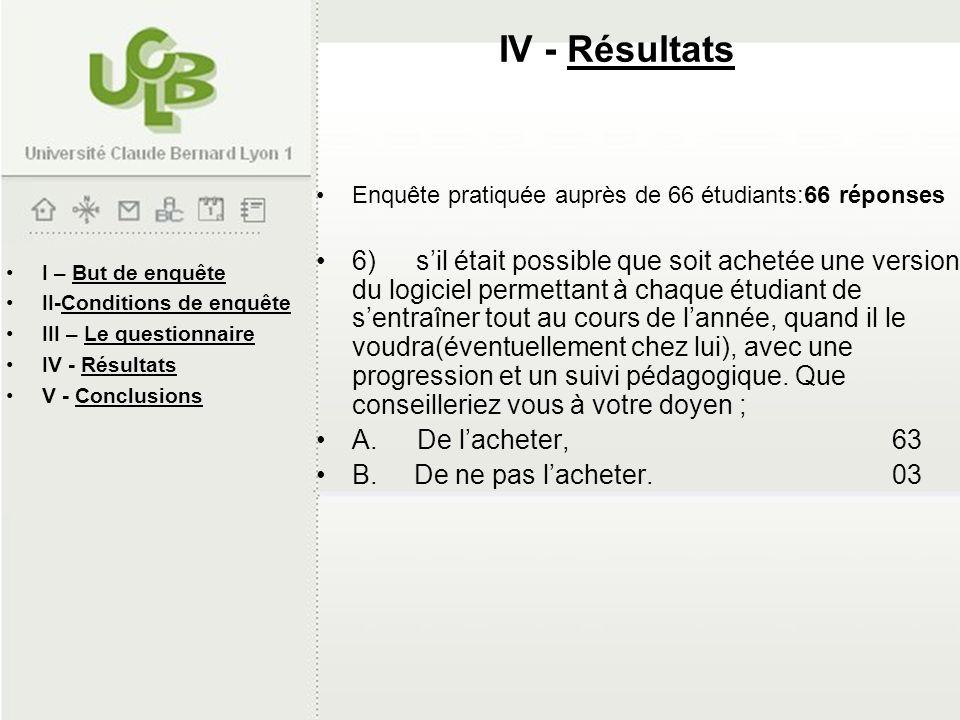 IV - Résultats Enquête pratiquée auprès de 66 étudiants:66 réponses.
