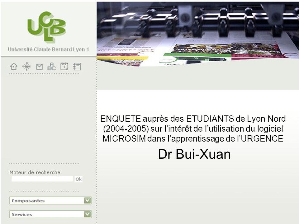 ENQUETE auprès des ETUDIANTS de Lyon Nord (2004-2005) sur l'intérêt de l'utilisation du logiciel MICROSIM dans l'apprentissage de l'URGENCE