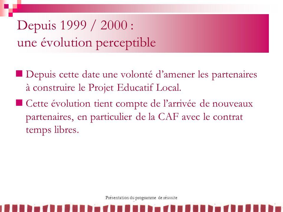 Depuis 1999 / 2000 : une évolution perceptible