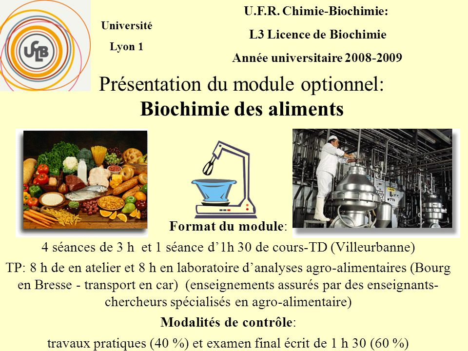 Présentation du module optionnel: Biochimie des aliments