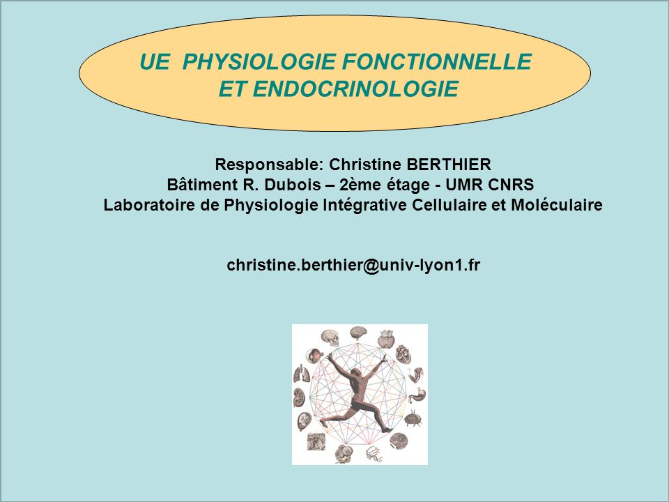 UE PHYSIOLOGIE FONCTIONNELLE Responsable: Christine BERTHIER
