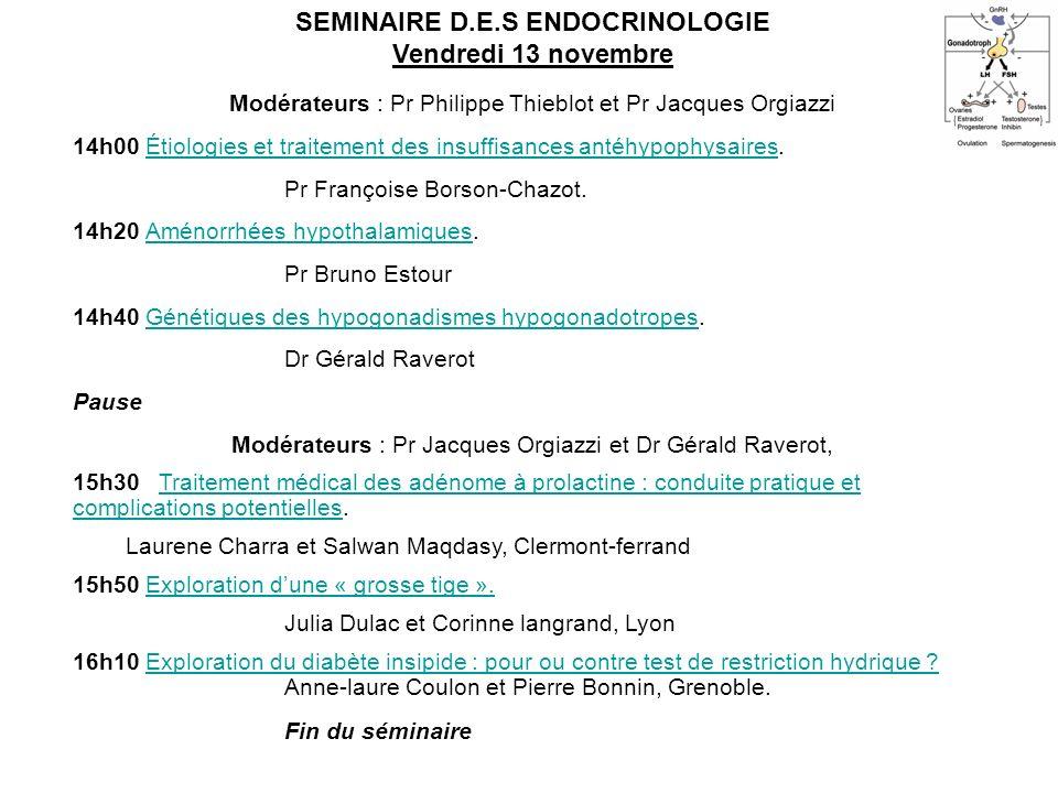 SEMINAIRE D.E.S ENDOCRINOLOGIE