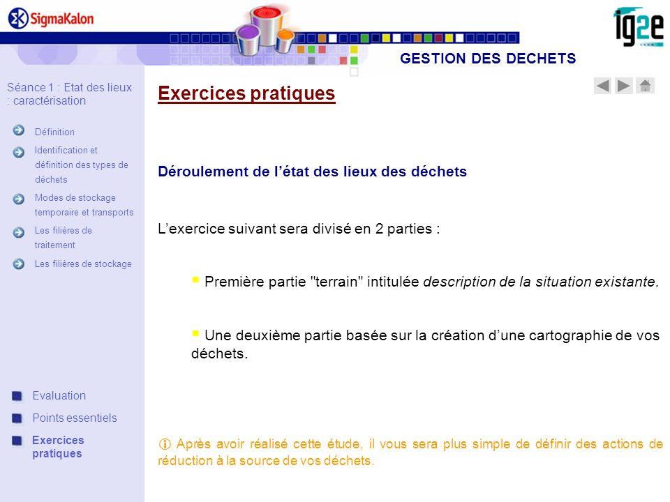Exercices pratiques GESTION DES DECHETS