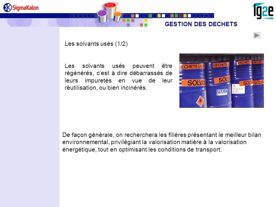 GESTION DES DECHETS Les solvants usés (1/2)