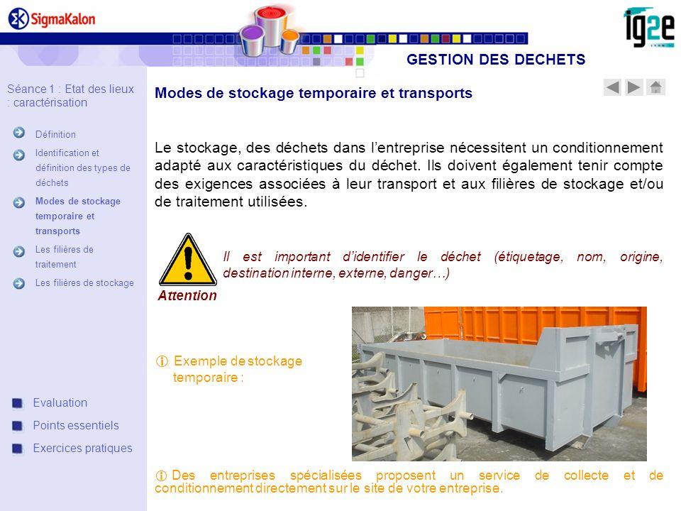 Modes de stockage temporaire et transports