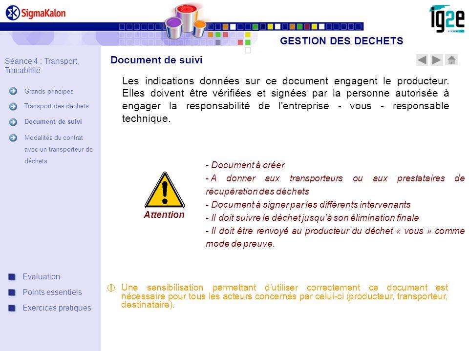 GESTION DES DECHETS Document de suivi