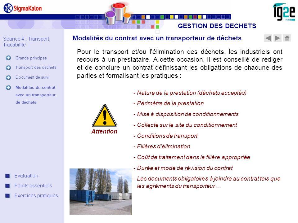 Modalités du contrat avec un transporteur de déchets