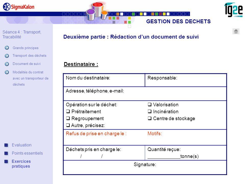Deuxième partie : Rédaction d'un document de suivi
