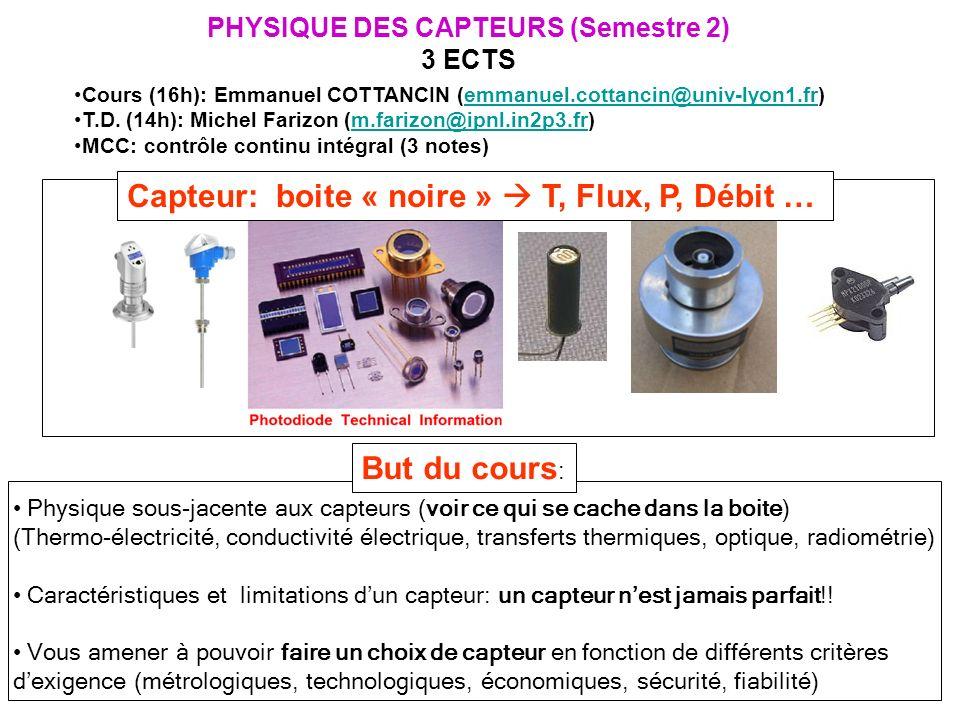 PHYSIQUE DES CAPTEURS (Semestre 2)
