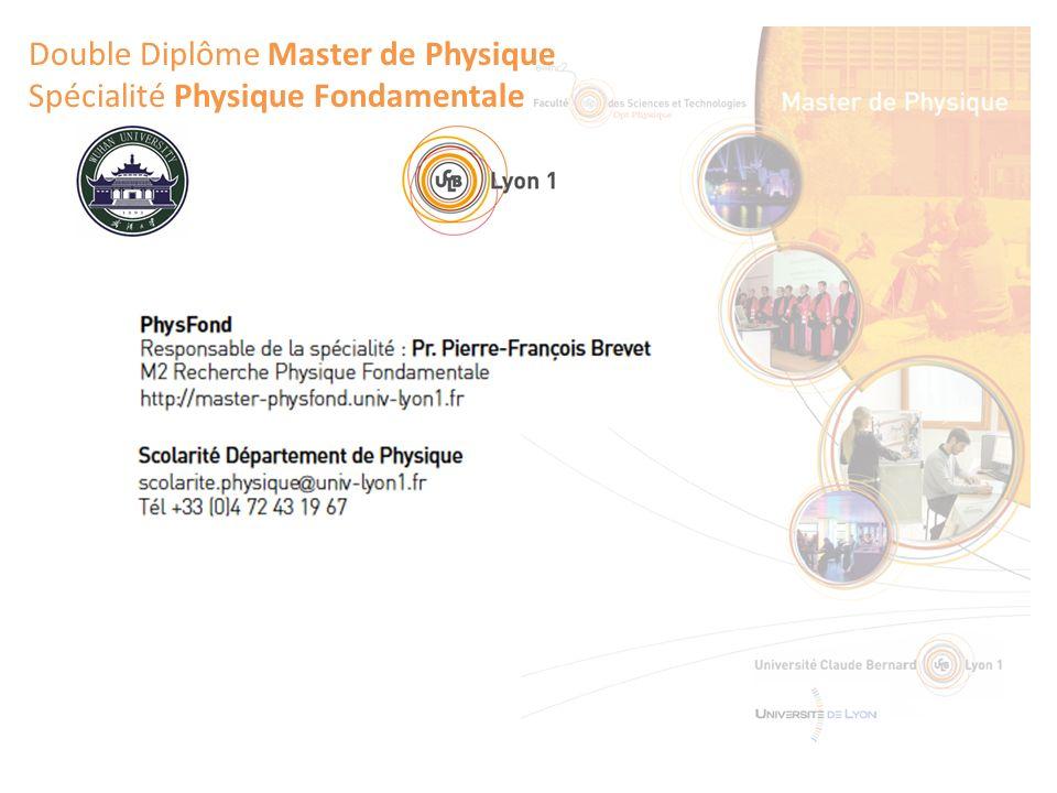 Double Diplôme Master de Physique