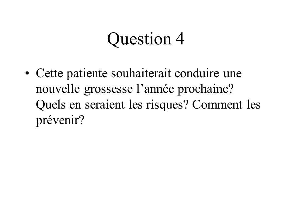 Question 4Cette patiente souhaiterait conduire une nouvelle grossesse l'année prochaine.