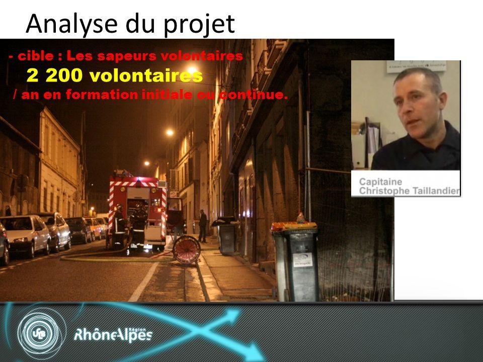 Analyse du projet - cible : Les sapeurs volontaires 2 200 volontaires / an en formation initiale ou continue.