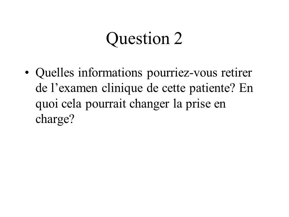 Question 2 Quelles informations pourriez-vous retirer de l'examen clinique de cette patiente.