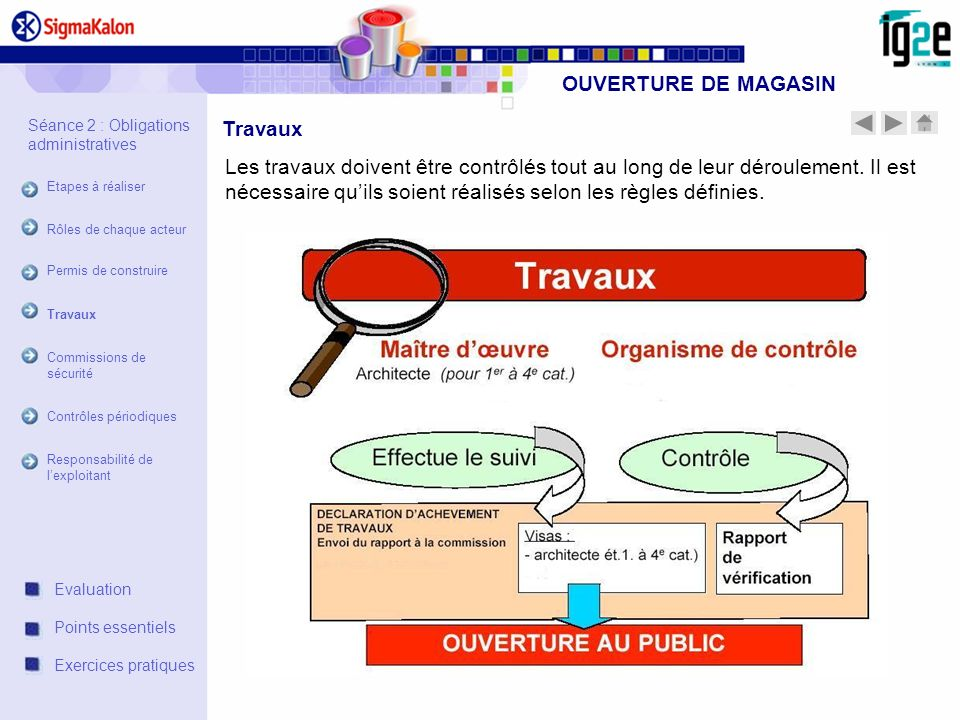 OUVERTURE DE MAGASIN Travaux