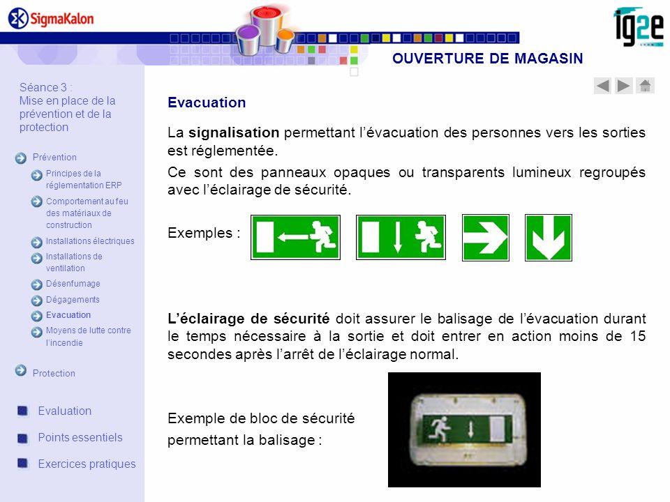 OUVERTURE DE MAGASIN Evacuation