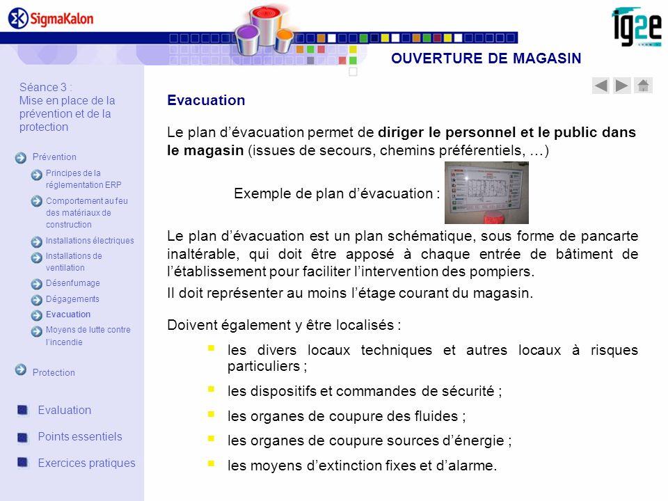 Exemple de plan d'évacuation :