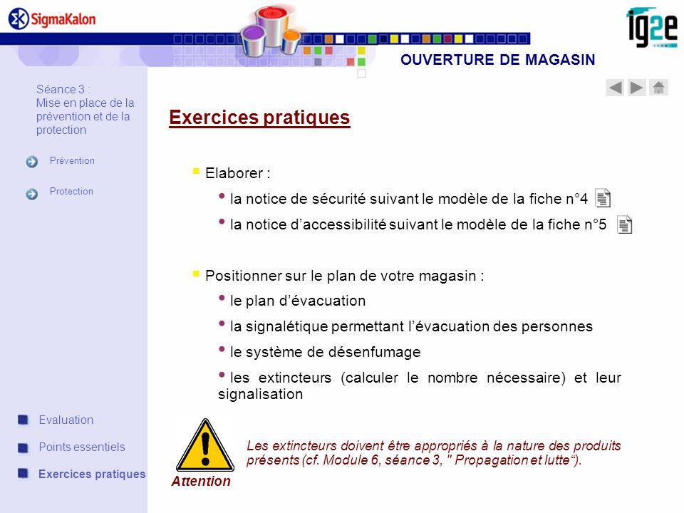 Exercices pratiques OUVERTURE DE MAGASIN Elaborer :