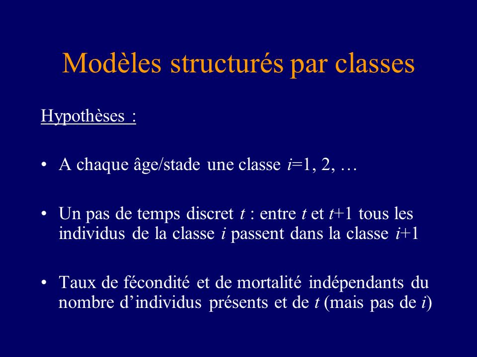 Modèles structurés par classes