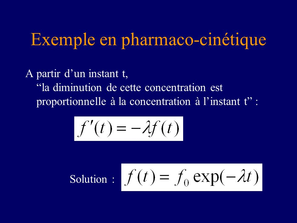 Exemple en pharmaco-cinétique
