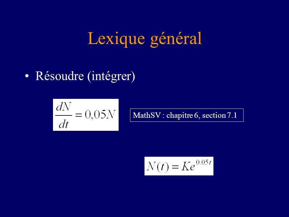 Lexique général Résoudre (intégrer) MathSV : chapitre 6, section 7.1