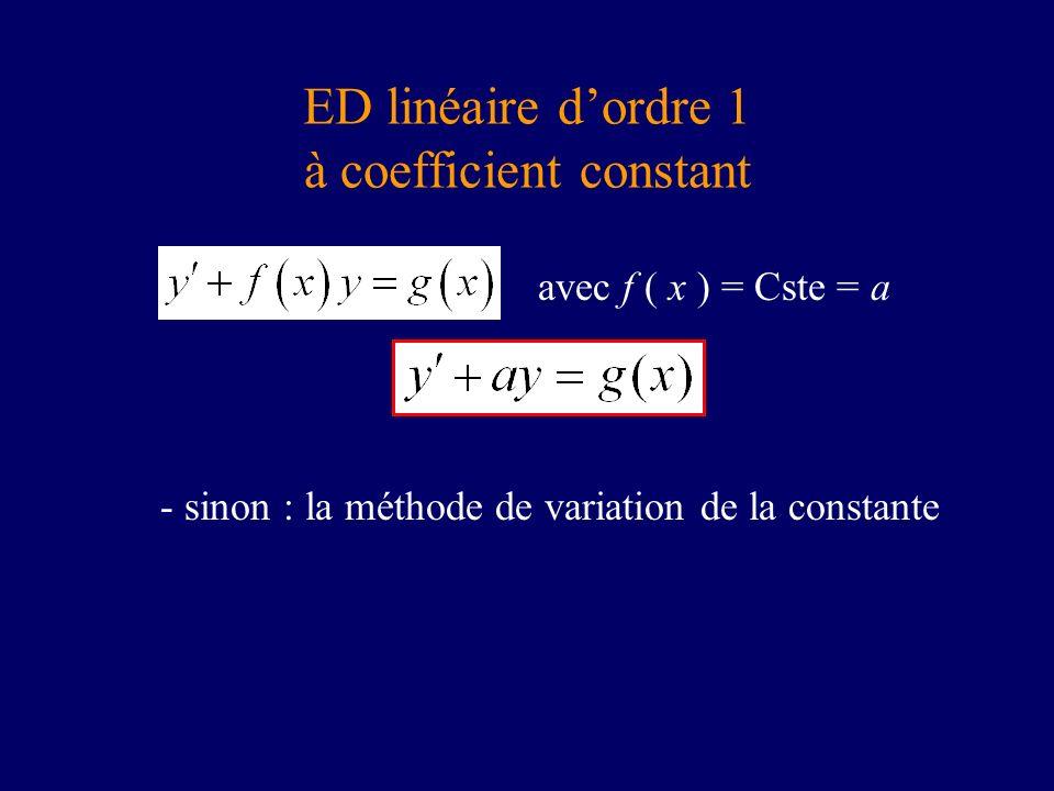 ED linéaire d'ordre 1 à coefficient constant