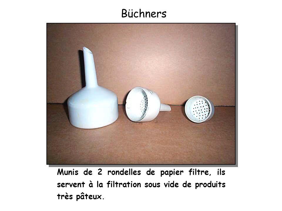 Büchners Munis de 2 rondelles de papier filtre, ils servent à la filtration sous vide de produits très pâteux.