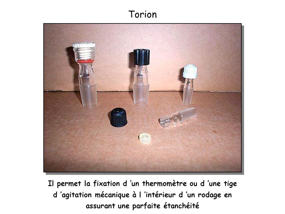 Torion Il permet la fixation d 'un thermomètre ou d 'une tige d 'agitation mécanique à l 'intérieur d 'un rodage en assurant une parfaite étanchéité.