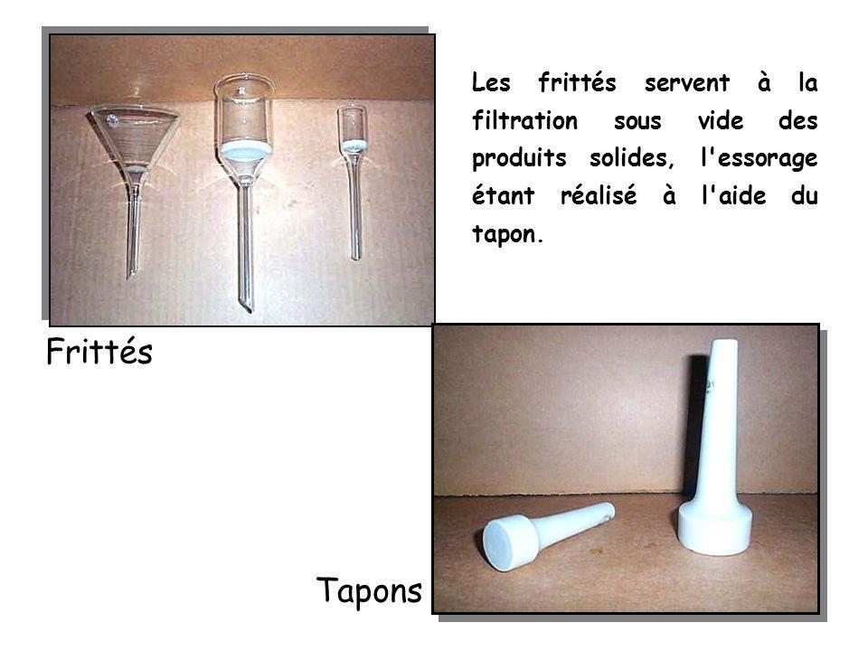 Les frittés servent à la filtration sous vide des produits solides, l essorage étant réalisé à l aide du tapon.