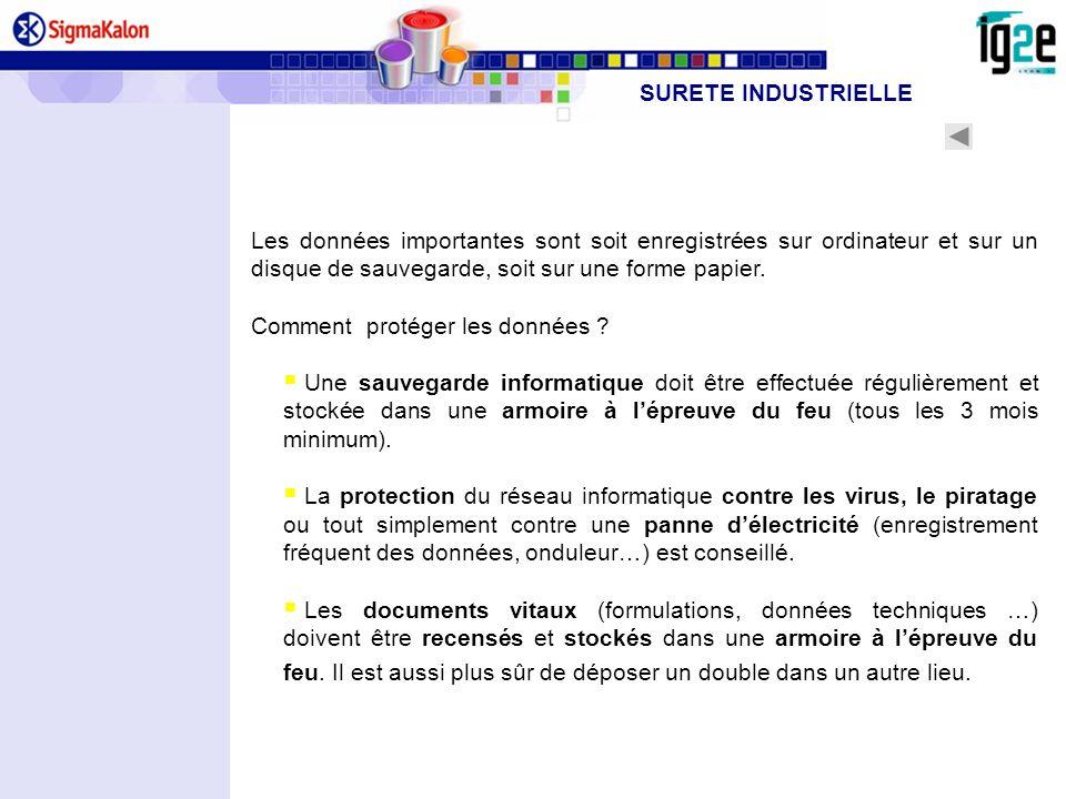SURETE INDUSTRIELLELes données importantes sont soit enregistrées sur ordinateur et sur un disque de sauvegarde, soit sur une forme papier.