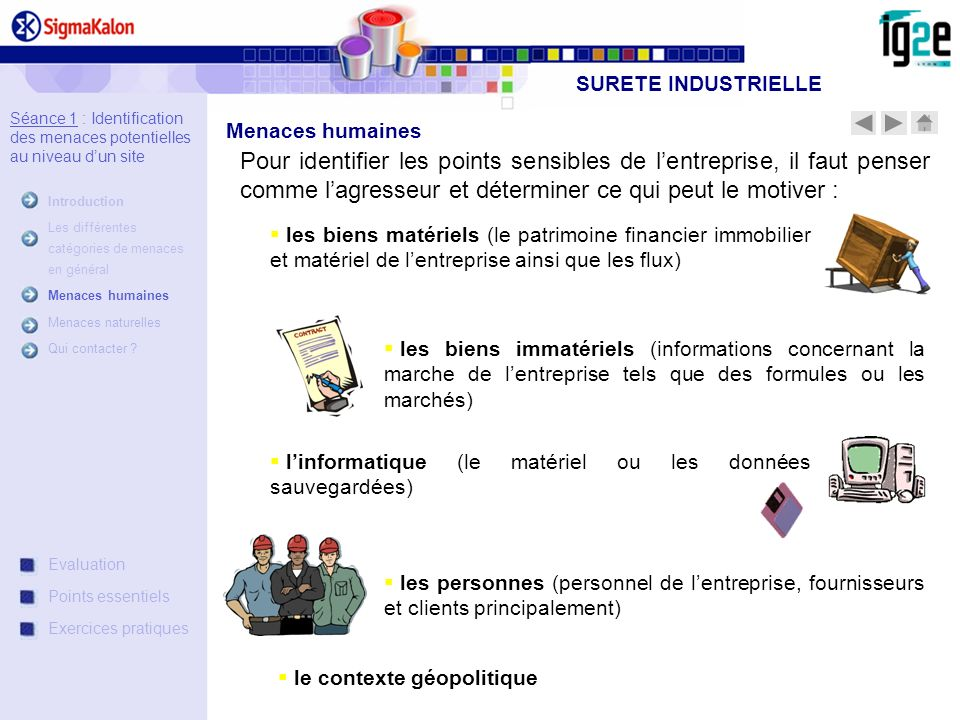 SURETE INDUSTRIELLE Séance 1 : Identification des menaces potentielles au niveau d'un site. Introduction.