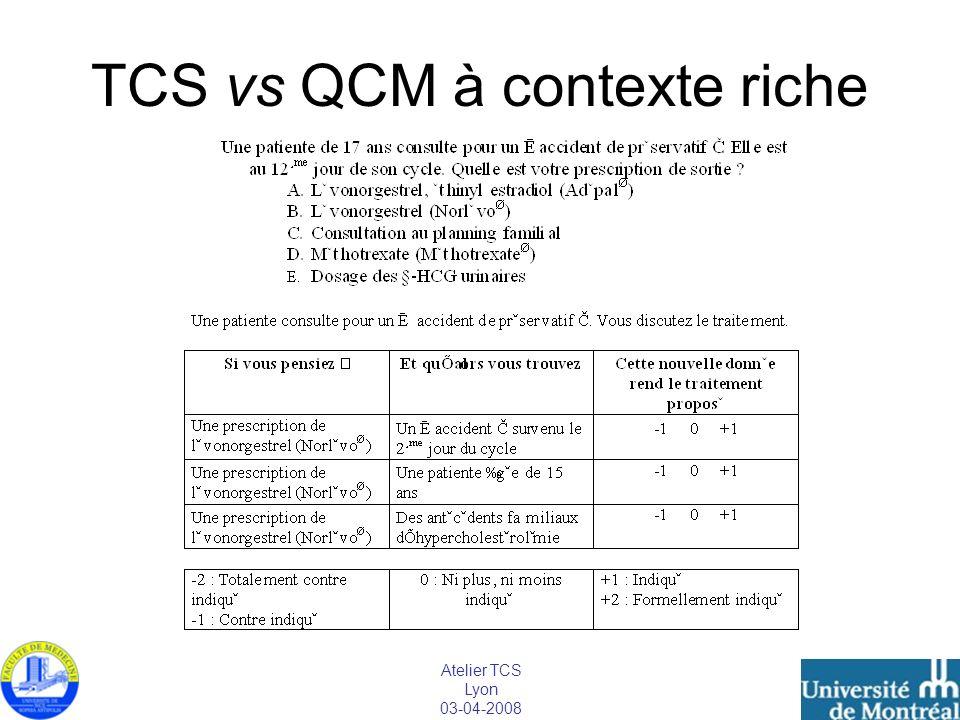 TCS vs QCM à contexte riche