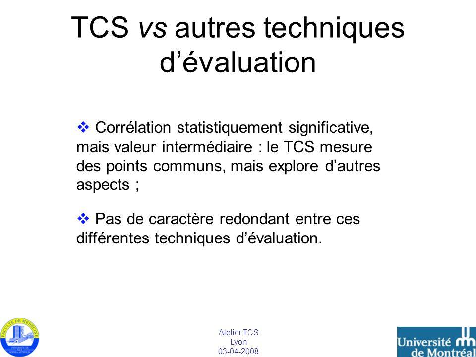 TCS vs autres techniques d'évaluation