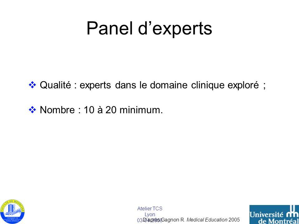 Panel d'experts Qualité : experts dans le domaine clinique exploré ;