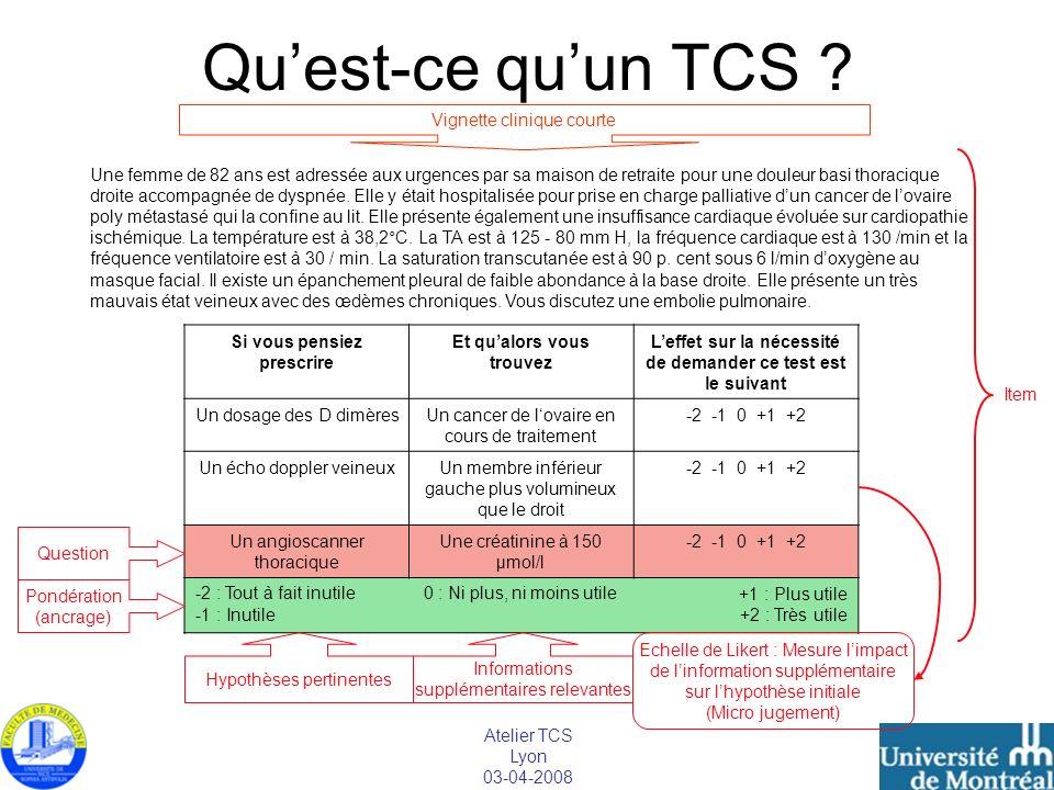 Qu'est-ce qu'un TCS Vignette clinique courte