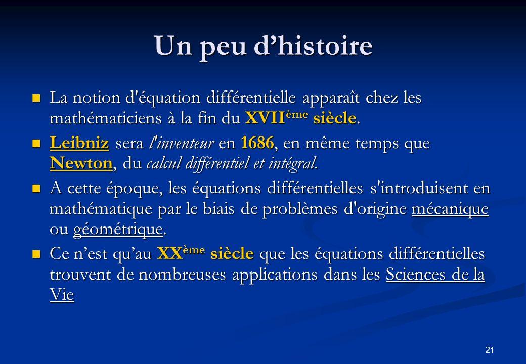 Un peu d'histoire La notion d équation différentielle apparaît chez les mathématiciens à la fin du XVIIème siècle.