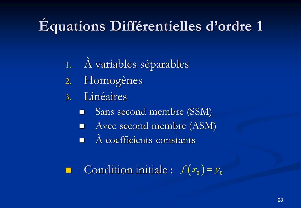 Équations Différentielles d'ordre 1