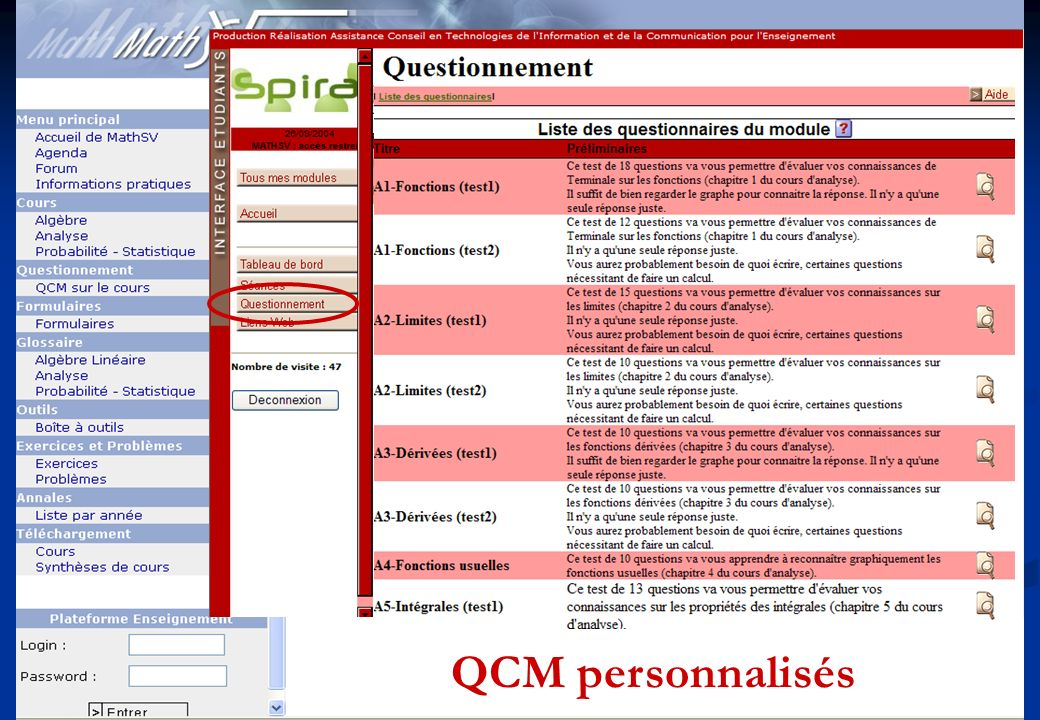 QCM personnalisés