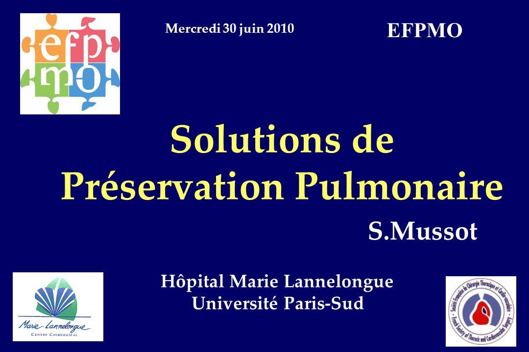 Solutions de Préservation Pulmonaire Hôpital Marie Lannelongue