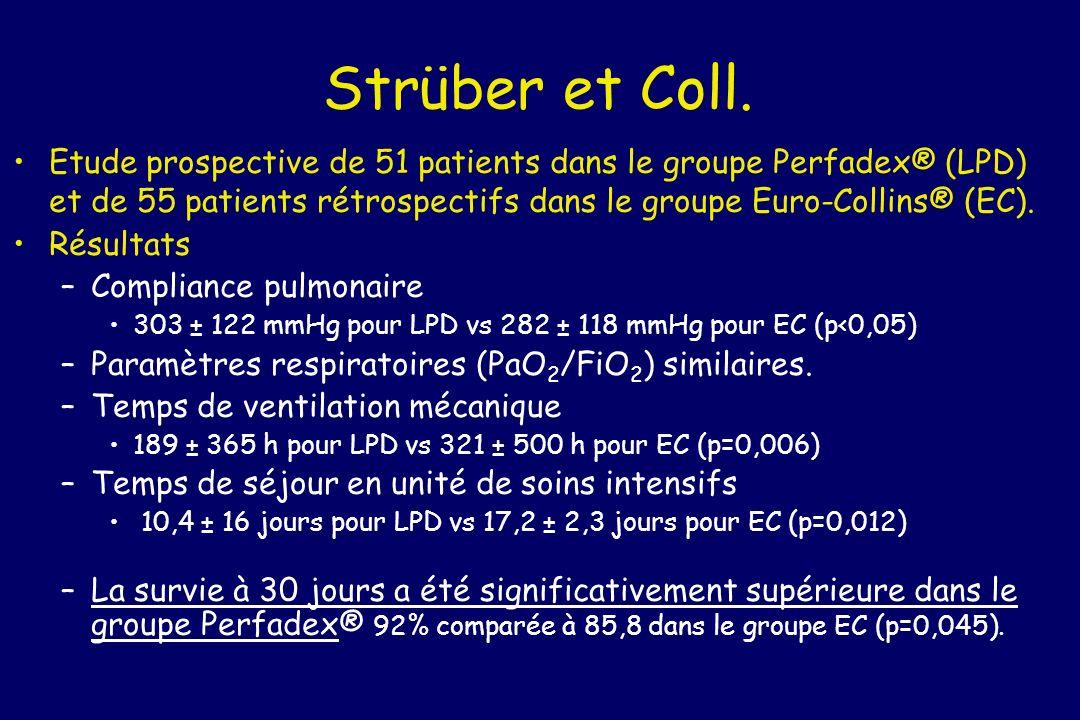 Strüber et Coll. Etude prospective de 51 patients dans le groupe Perfadex® (LPD) et de 55 patients rétrospectifs dans le groupe Euro-Collins® (EC).