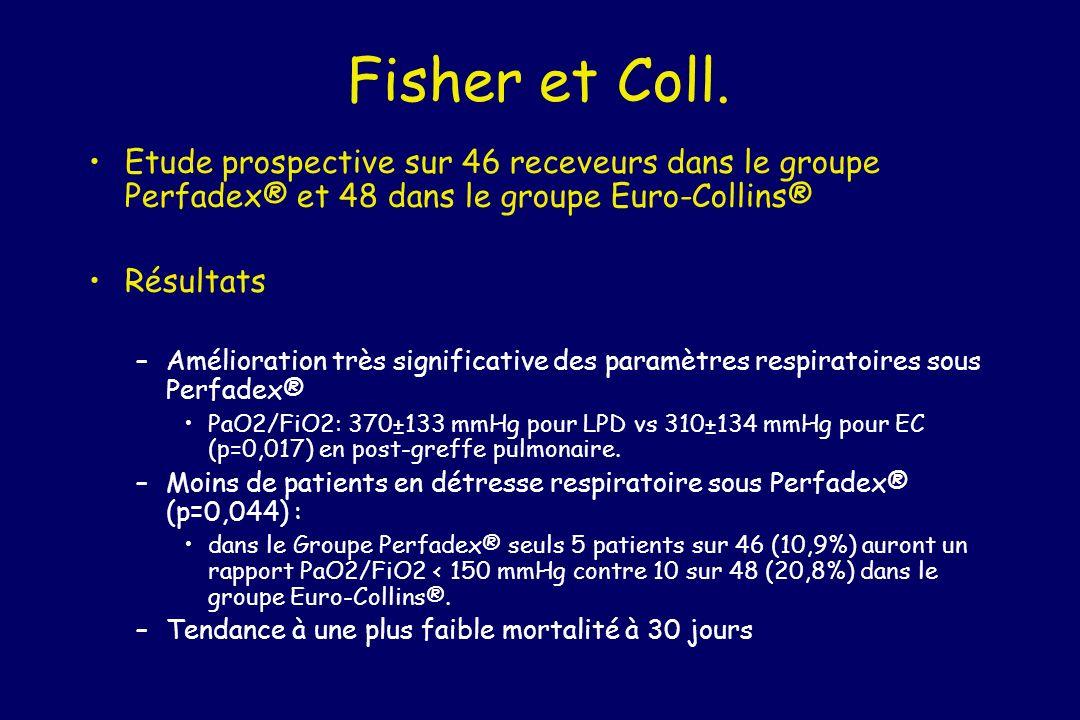 Fisher et Coll. Etude prospective sur 46 receveurs dans le groupe Perfadex® et 48 dans le groupe Euro-Collins®