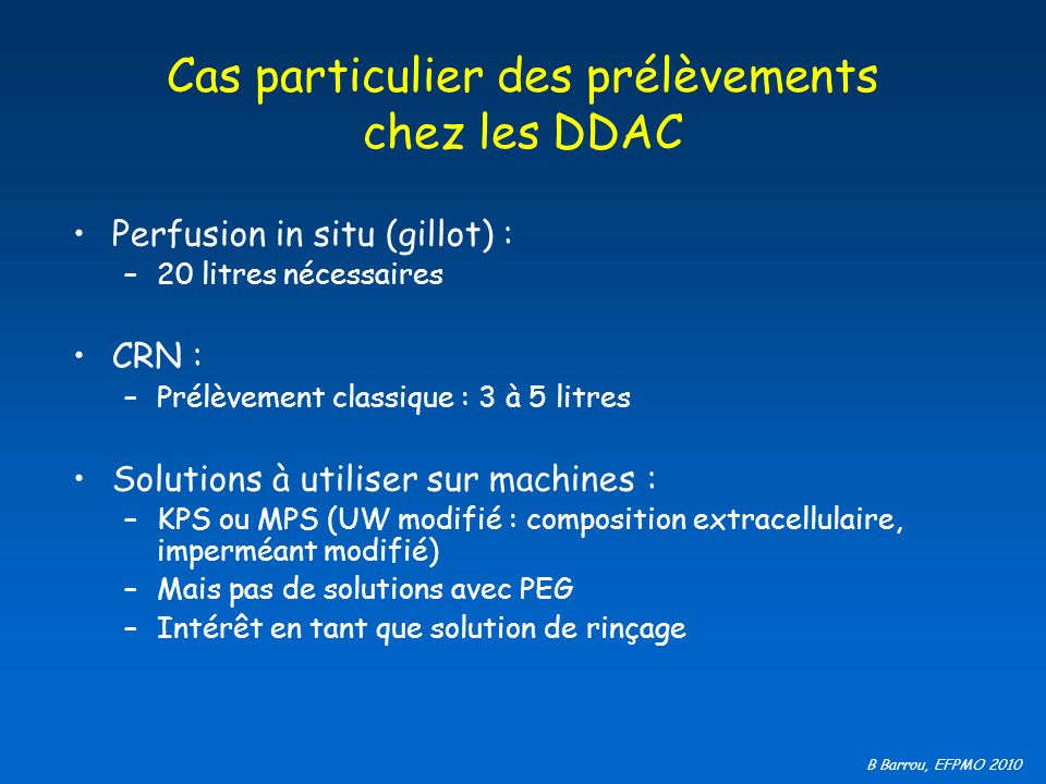 Cas particulier des prélèvements chez les DDAC
