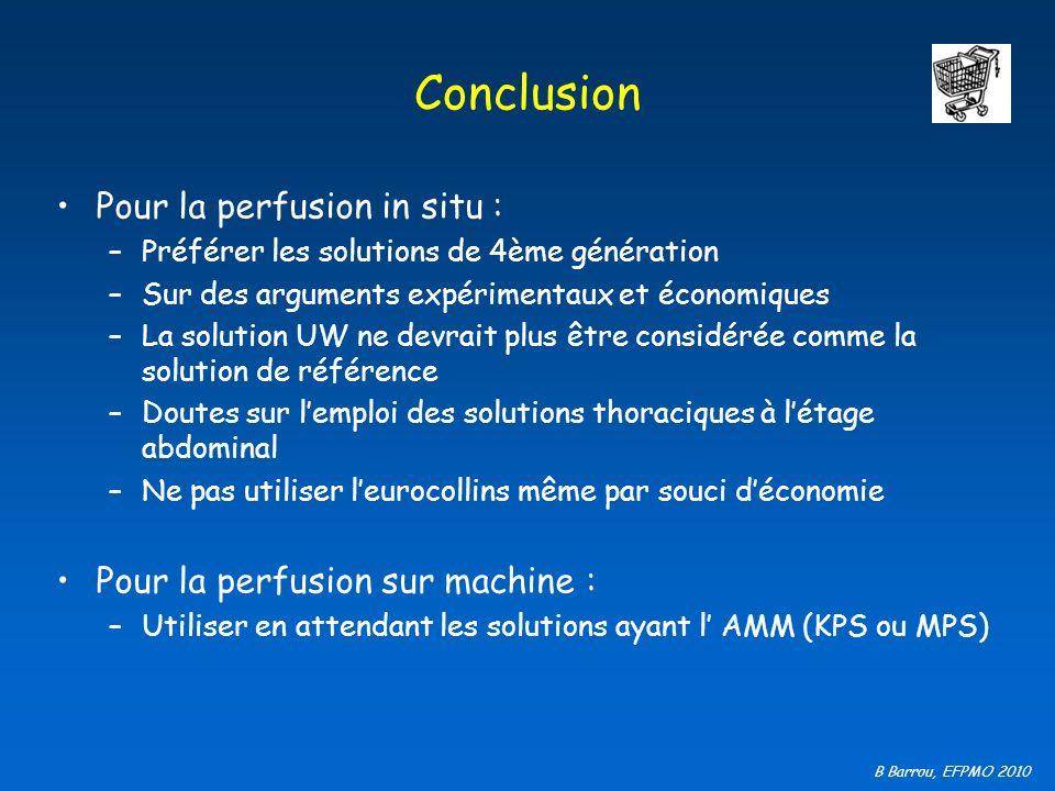 Conclusion Pour la perfusion in situ : Pour la perfusion sur machine :