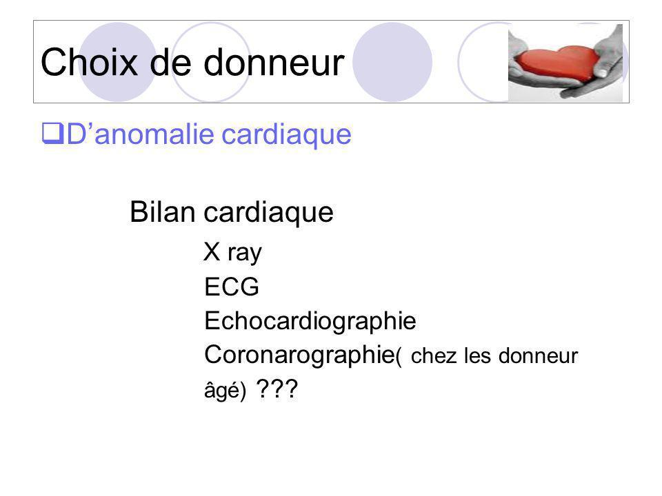 Choix de donneur D'anomalie cardiaque Bilan cardiaque X ray ECG