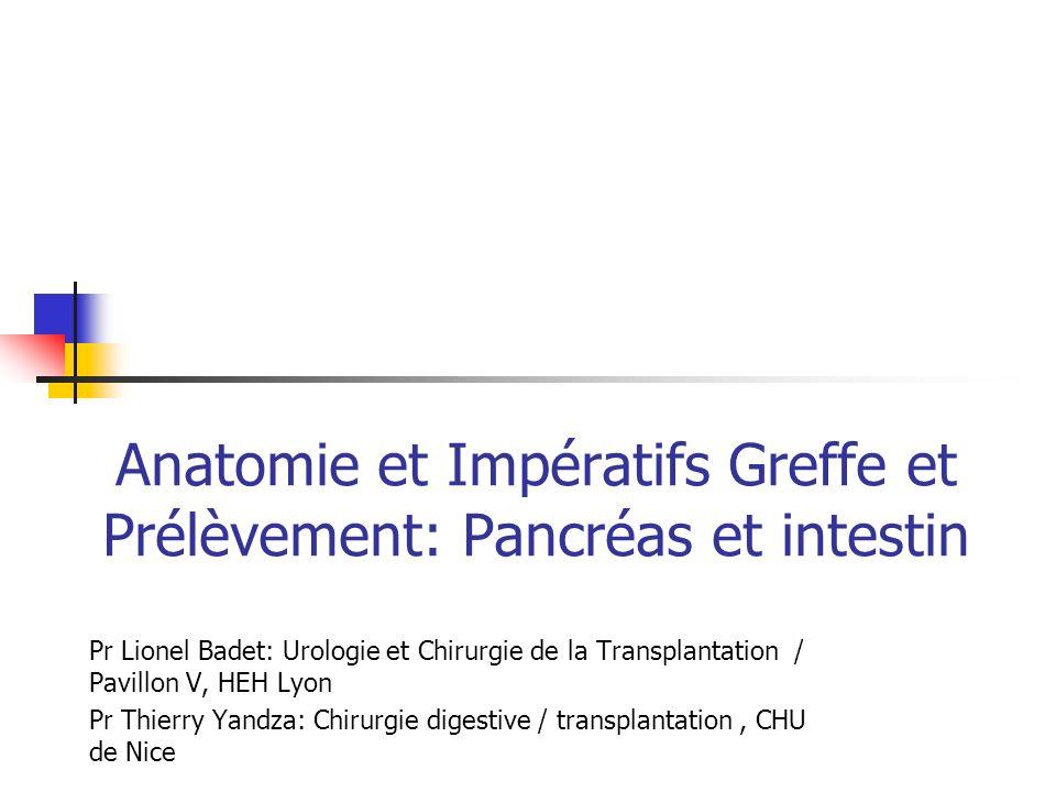 Anatomie et Impératifs Greffe et Prélèvement: Pancréas et intestin