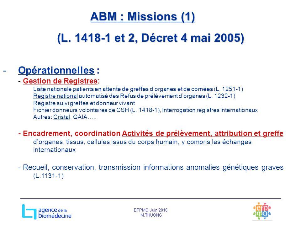 ABM : Missions (1) (L. 1418-1 et 2, Décret 4 mai 2005)