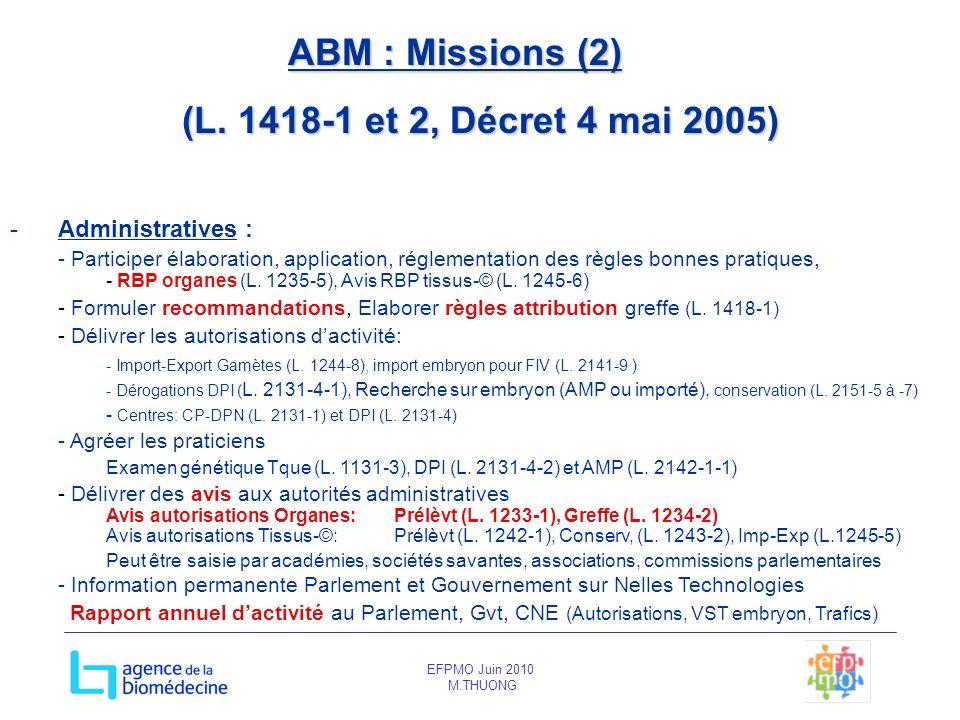 ABM : Missions (2) (L. 1418-1 et 2, Décret 4 mai 2005)