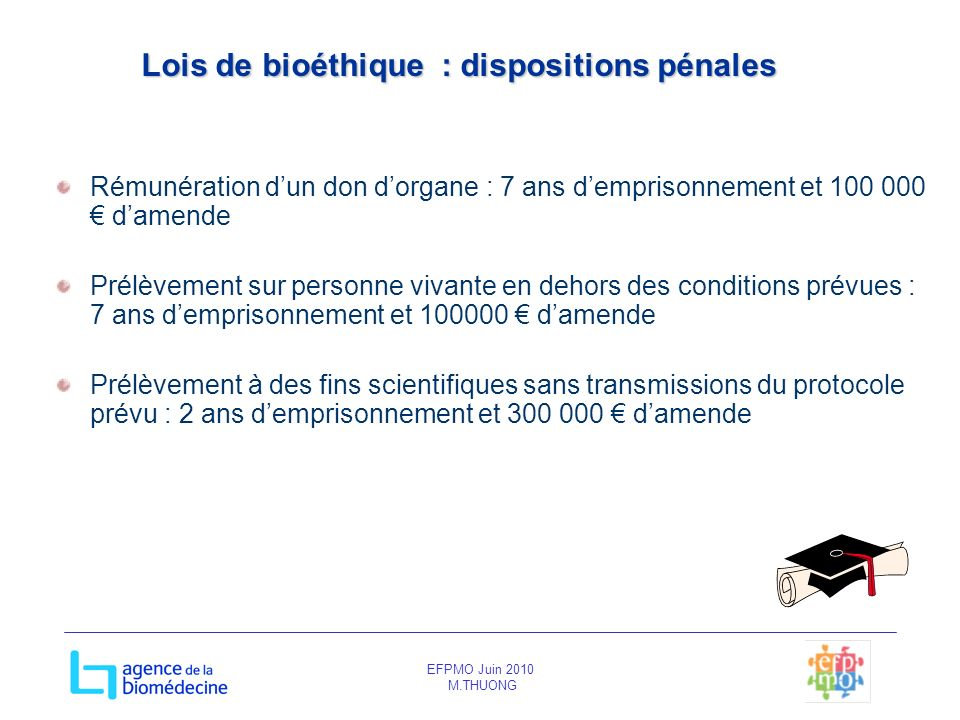Lois de bioéthique : dispositions pénales