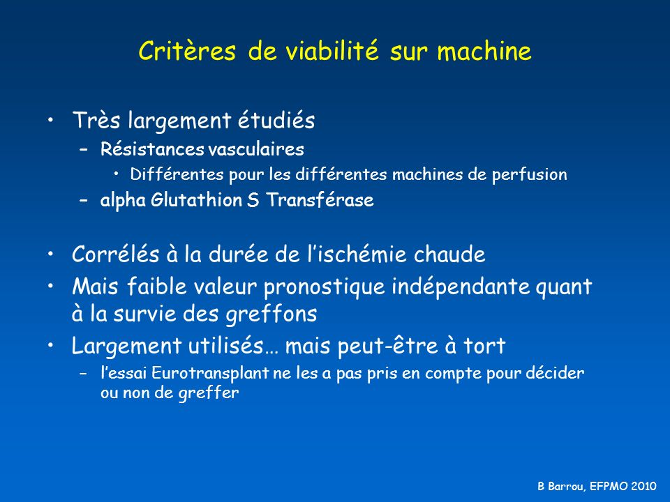 Critères de viabilité sur machine