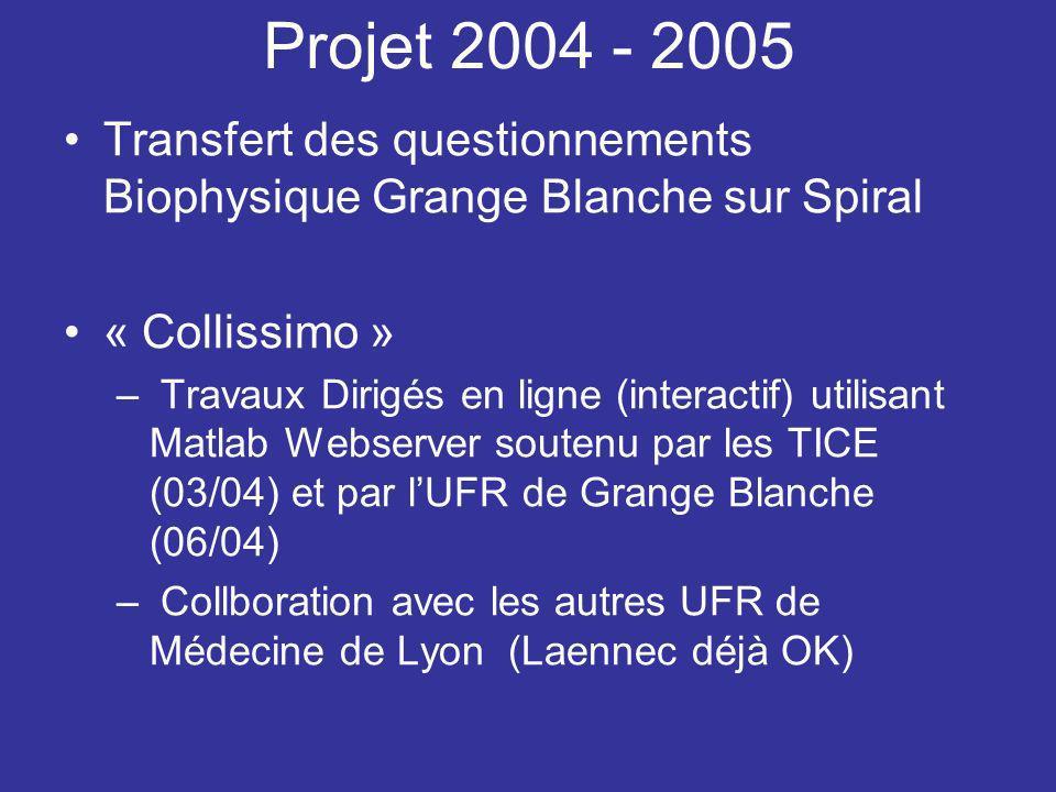 Projet 2004 - 2005 Transfert des questionnements Biophysique Grange Blanche sur Spiral. « Collissimo »