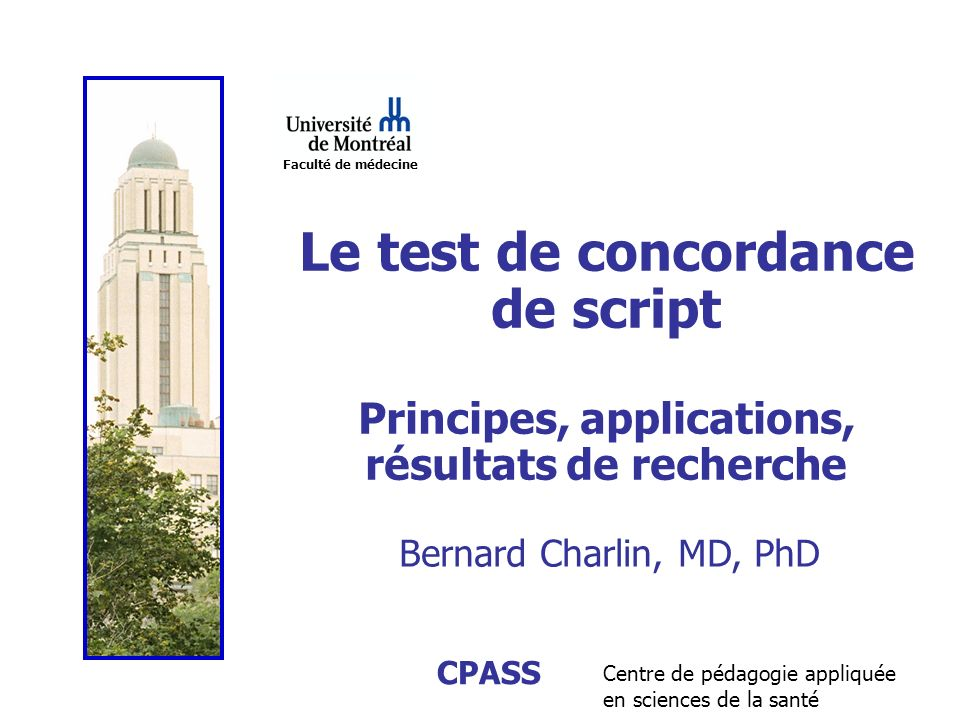 Le test de concordance de script Principes, applications,